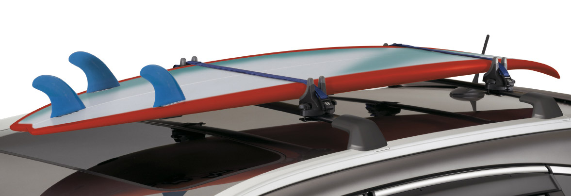 A Car With Hard Surfboard Rack
